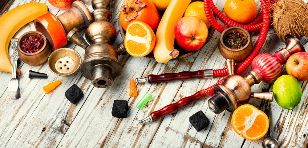 Details of a Hookah and Fruit Smoking Tobacco.